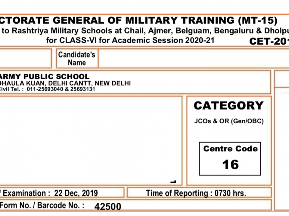 Sample admit card for RMS CET